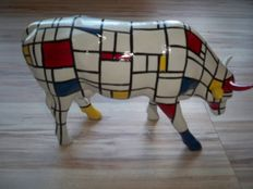 John Eastman for Cowparade / Cow Parade - Mondrian / Mondriaan - LARGE -  IN BOX WITH TAG