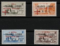Former French colonies, Saint Pierre and Miquelon 1942 – Stamps overprinted with 'France Libre'