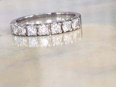 14 kt white gold women's ring with 0.70 ct brilliant cut diamonds in total – Top Wesselton / VVS - size 17.25