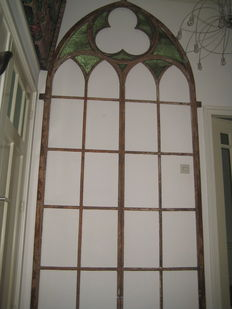 Very old large unique cast iron church window - the beginning of the 19th century.