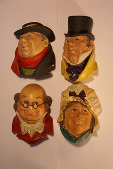 Four vintage Bossons faces, Dickens serie, England, 1964