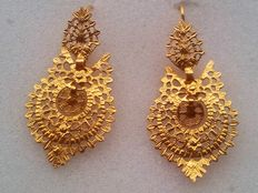 Antique 19th century earrings in 21.6 kt gold