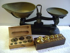 "Scale ""Libra Scale Co."" with 2 weights sets - England - ca. 1900"