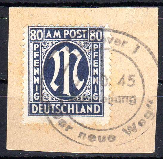 Allied occupation - 1945 - postage stamp 'M' in oval 80 Pf. - Michel 34 aD verified Schlegel BPP