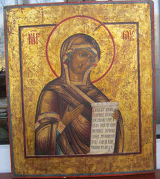 """Russian Antique Icon """" Our Lady of Deesis row"""" of the beginning of the 19th century"""