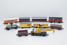 Fleischmann/Roco/Trix N - 8502/e.a. - 1 small crane, and 9 various goods wagons - mostly of the DB