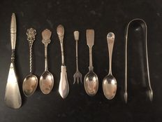 8 pieces of English silver tableware