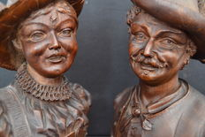 Carved oak wooden Tyrolean couple - Austria - 2nd half of 19th century