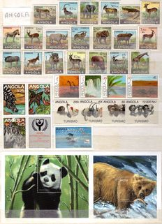 Lot of stamps in complete series and cards Theme: AFRICAN ANIMALS