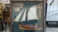 Vintage ship in glass case