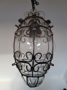 Small Venetian hanging lamp - blown glass and beautifully worked on metal - Italy - second half of 20th century