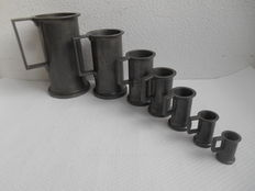 Complete set of pewter measuring cups - France - ca. 1930.