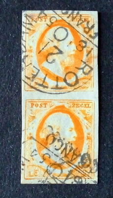 The Netherlands, 1852, king William III of the Netherlands, first issue, NVPH 3 in vertical pair