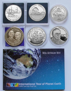 World - Lot assorted coins & set 1979/2008 (8 different) including 4x silver