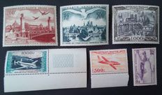 France 1934/1954 – Lot of 6 air mail stamps – Yvert no. 7, 20, 28, 29, 32 and 33.