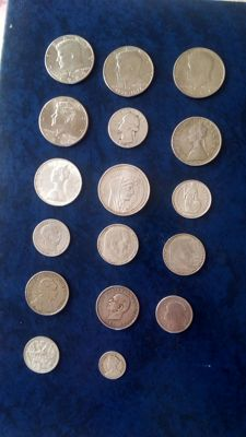 Europe and world - Lot of 17 coins - Silver