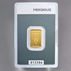 Heraeus Gold Bullion, 5 grams - 999 Fine Gold - safely packed in blister packaging