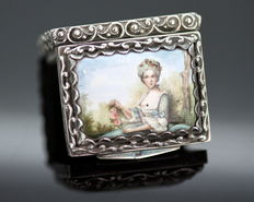 Solid Silver and Porcelain Pill Box, Made in Deutschland 1930's