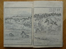 """Richly illustrated black and white woodcut book with 28 diptychs and 9 single prints:  Edo Meisho Zue """"Guide to famous places in Edo"""", part 6 – Japan – 1833"""