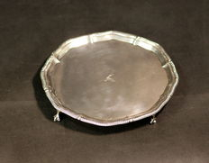 "Antique Sterling Silver Salver ""Gradatim Vincimus"", Made in Sheffield 1925, Made by Thomas Bradbury & Sons"