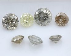 7 Round Brilliant Mixed Color Diamonds – 0.84 ct.