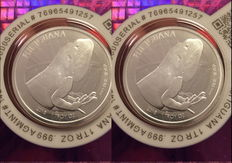 Fiji - 2 x 1 Dollar - Iguana 2015 - Cert Lock / Blister packaging - 2 pieces 999 pieces 999 silver, fine silver with certificate.
