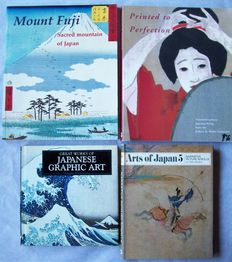 Lot with five books on Japanese printmaking and scroll painting, 1973-2004