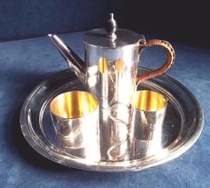 English three piece tea set with tray, silver plated with gold plated interior, 1900
