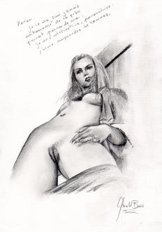 Original artwork; 3 female nude portraits by Gerald Baes - 20th century