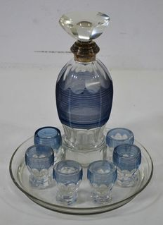 Art Deco rosolio liqueur set in glass