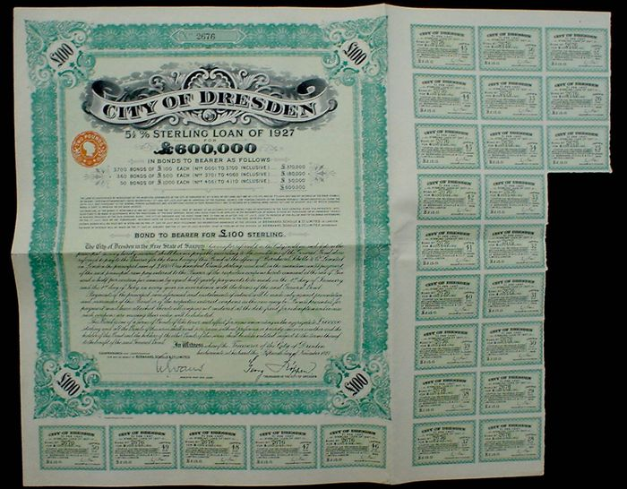 Germany City of Dresden 100 Pound Sterling Bond to Bearer 1927, in default