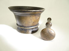 Antique brass pharmacists mortar with accompanying pestle-Netherlands-18th/19th century