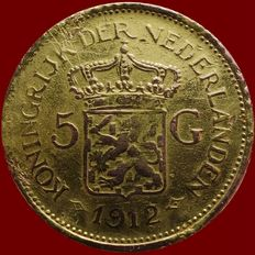 The Netherlands – 5 guilders 1912 Wilhelmina - replica – gold.
