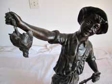 The Happy hunter - large statue in Babbitt - signed H. Tremo - first half of the 20th century