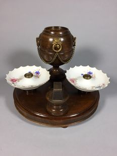 Wooden smoking set with brass mounts and porcelain dishes, may be from France - ca. 1900