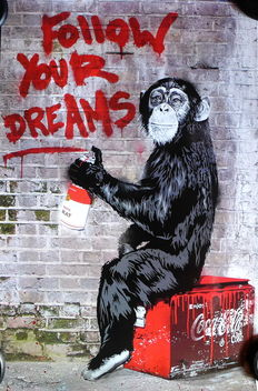 Mr Brainwash - Life is Beautiful Follow your Dreams Monkey London
