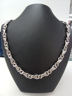 18kt White Gold Necklace with Diamonds (Ladies)