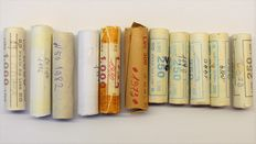 Italian Republic – Lot of 550 coins with denominations 5, 10, 20 lire – 1980–1995, in rolls