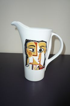 "Produced by Porcellane Tognana for MMI - jug with with Picasso design ""Portrait stylisé Jacqueline '"
