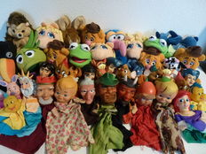 Large collection of 39 puppet-show and hand puppets