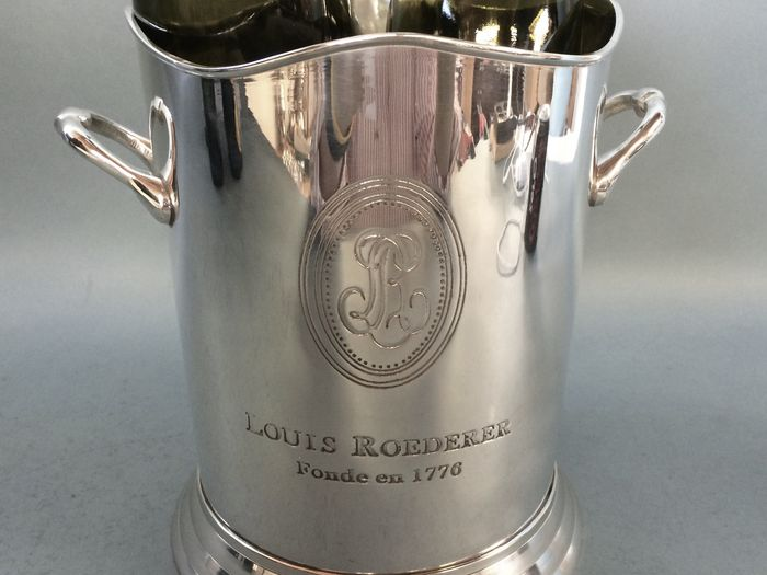 Silver plated champagne cooler with engraving Roederer