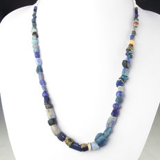 Necklace with Roman blue glass and stone beads - 35 / 52 cm