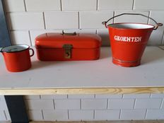 Enamel bread bin, vegetable bucket and milk jug