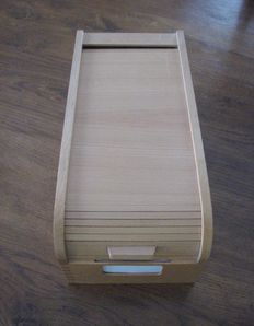 Wooden filing cabinet with roll-down shutter (late 1960s)
