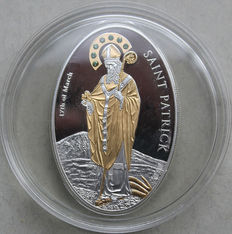 "Cook Islands – 5 Dollars 2010 ""Saint Patrick"" - silver with Swarovski crystals"