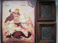 Three icons Ortodox RUSSIAN ICON OF Georgy Pobedonosets and Blissful silence