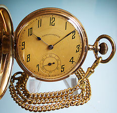 14 kt gold savonet men's pocket watch, Ancre Chronometre, from around 1930 + chain (gold plated)