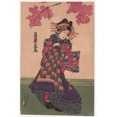 "Large original early Woodblock Print  ""Oiran Courtesan Nagao of the Bishuro""  from Ise-ya publisher - Japan - 1820s-1830s"