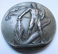 Sweden - Big Silver Medal 1928 by Erik Lindberg commemorating 100 Years of the Fire Protection Insurance (Feuerschutzversicherung)