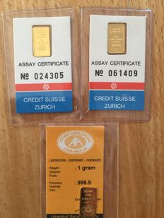 3 gold ingots with certificates